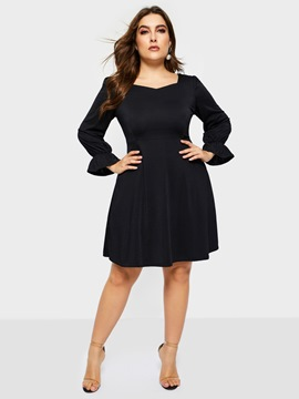 Ericdress Knee-Length Long Sleeve Plus Size Elegant Dress