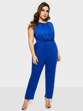Ericdress Plus Size Plain Sexy Straight Loose Jumpsuit