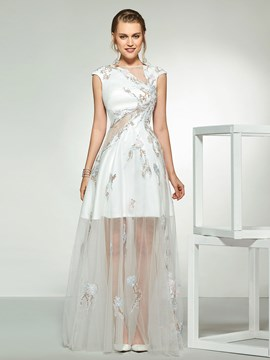 Ericdress Cap Sleeves Embroidery Beach Wedding Dress 2019
