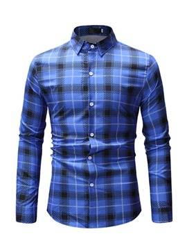Ericdress Plaid Lapel Printed Mens Casual Shirt