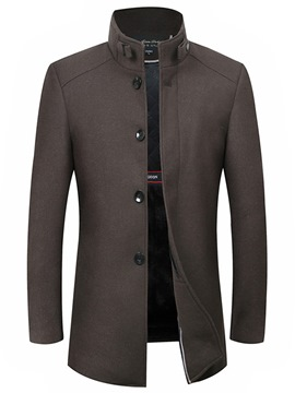Ericdress Plain Stand Collar Single-Breasted Mens Wool Coat