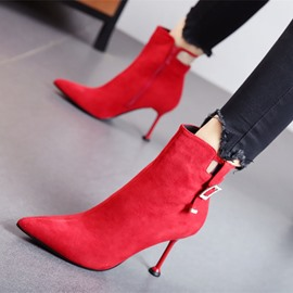 Ericdress Plain Side Zipper Pointed Toe Stiletto Heel Women's Ankle Boots