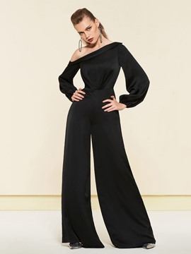 Ericdress One Shoulder Long Sleeves Black Loose Jumpsuit 2019