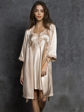 Ericdress Plain Sexy Lace-Up V-Neck Women's Robe and Nightgown