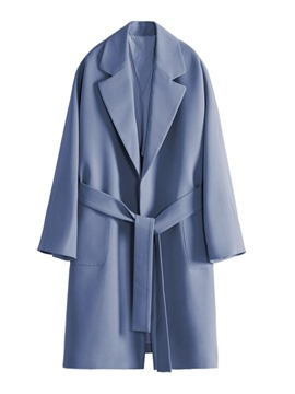 Ericdress Loose Lace-Up Regular Notched Lapel Long Overcoat