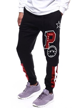 Ericdress Letter Printed Color Block Lace-Up Mens Casual Pants