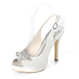 Ericdress Buckle Stiletto Heel Peep Toe Wedding Shoes