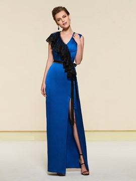 Ericdress V-Neck Sheath Lace Evening Dress
