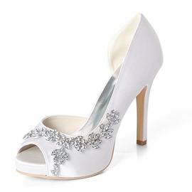 Ericdress Rhinestone Stiletto Heel Slip-On Peep Toe Wedding Shoes