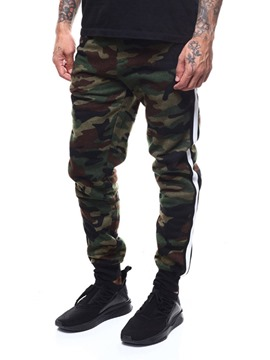 Ericdress Camouflage Side Striped Mid-Waist Mens Casual Pants