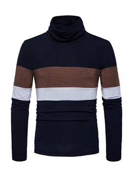 Ericdress Heap Collar Striped Color Block Mens Casual Sweater