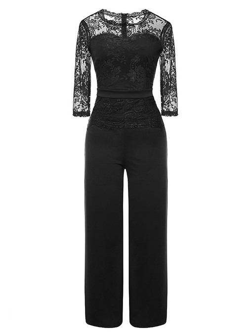 Ericdress Patchwork Lace Plain Wide Legs Elegant Jumpsuit