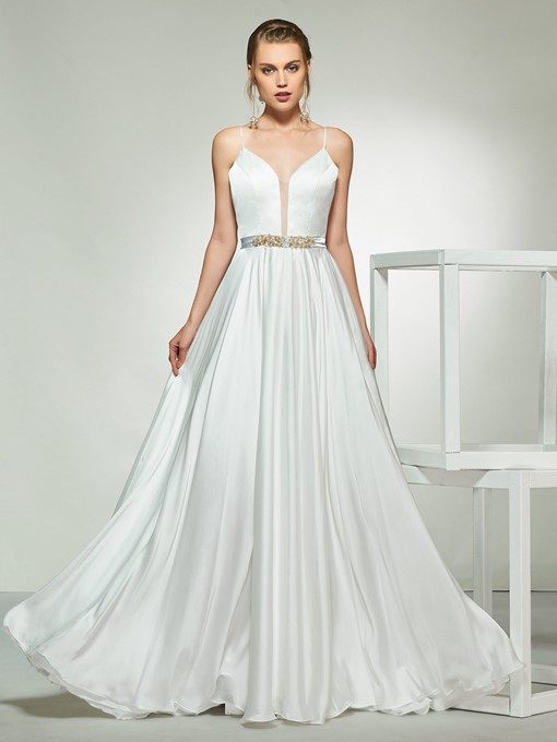 Ericdress Spaghetti Straps Beading Wedding Dress