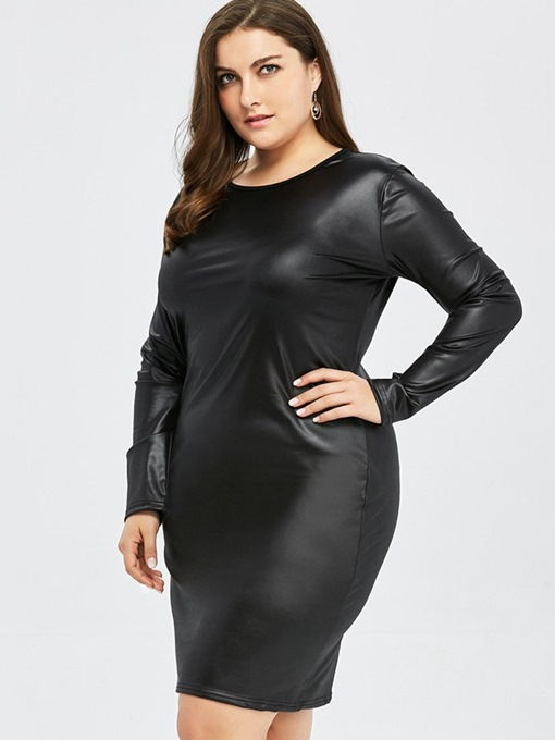 Ericdress Knee-Length Round Neck Long Sleeve Plus Size Pullover Bodycon Dress