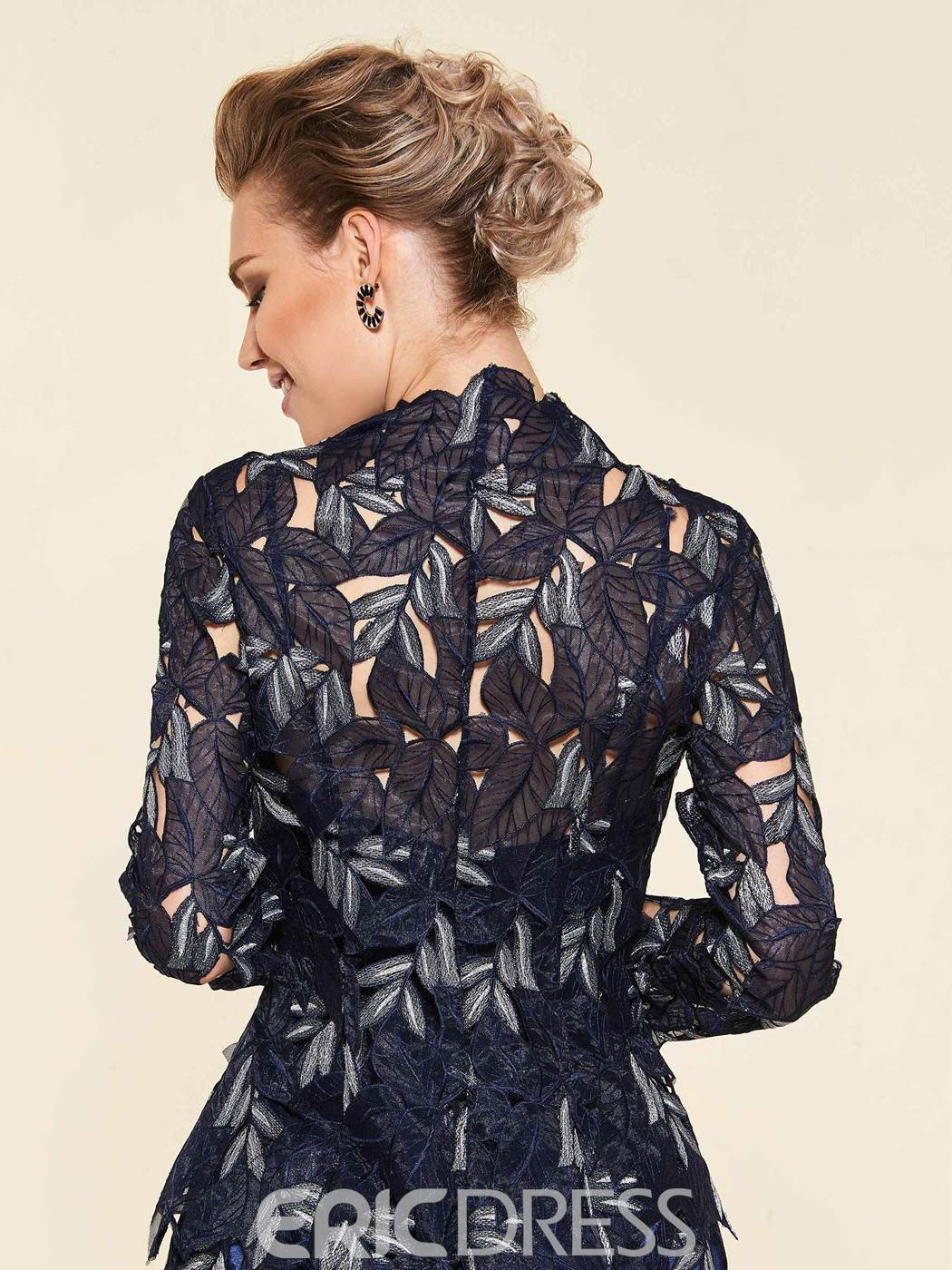 Ericdress High Neck Long Sleeves Wedding Party Dress With Jacket