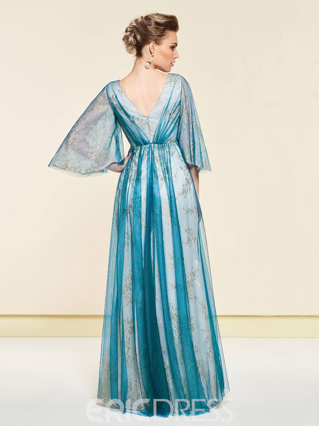 f931ec1f1e8 ... Ericdress Crystal 3 4 Length Sleeves Mother Of The Bride Dress 2019 ...