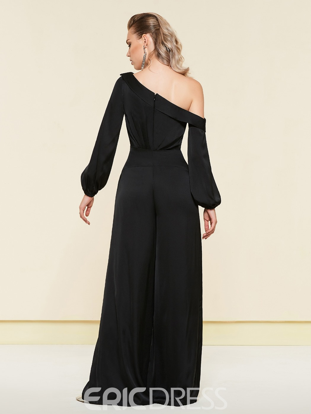 Ericdress One Shoulder Long Sleeves Black Loose Jumpsuit