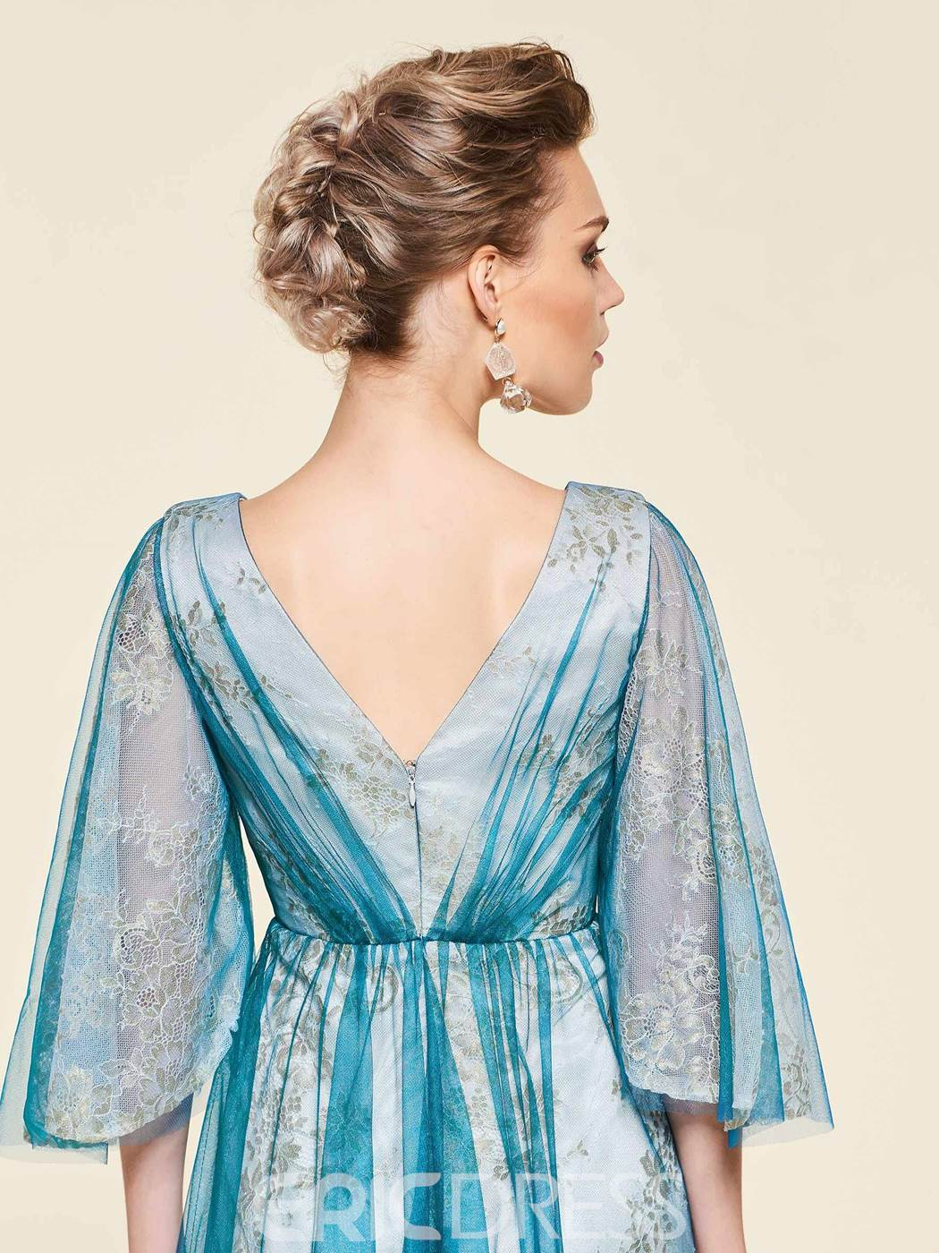 c96243961f1 Ericdress Crystal 3 4 Length Sleeves Mother Of The Bride Dress 2019 ...