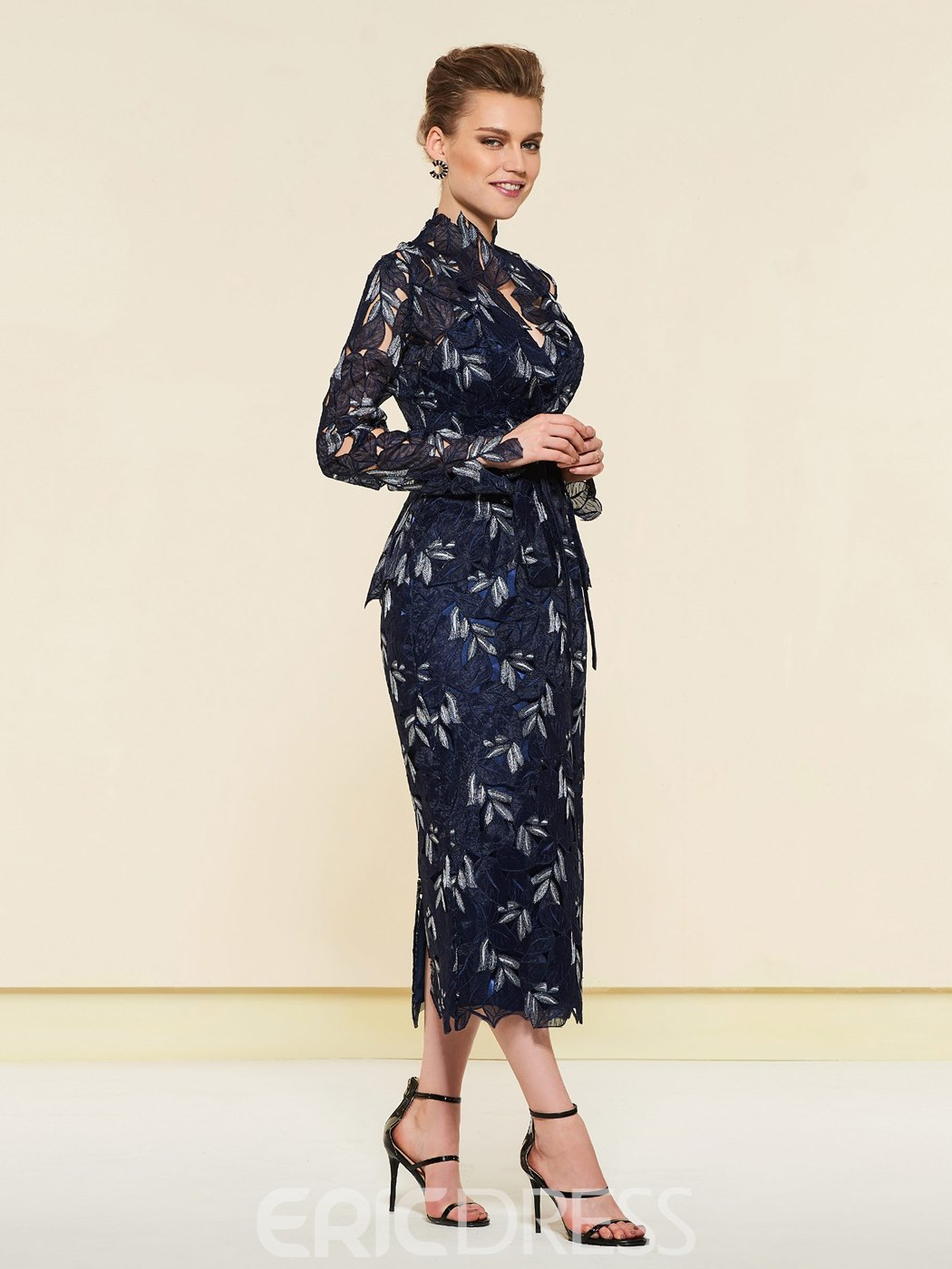 Ericdress Hollow Lace Tea Length Mother of the Bride Dress with Jacket