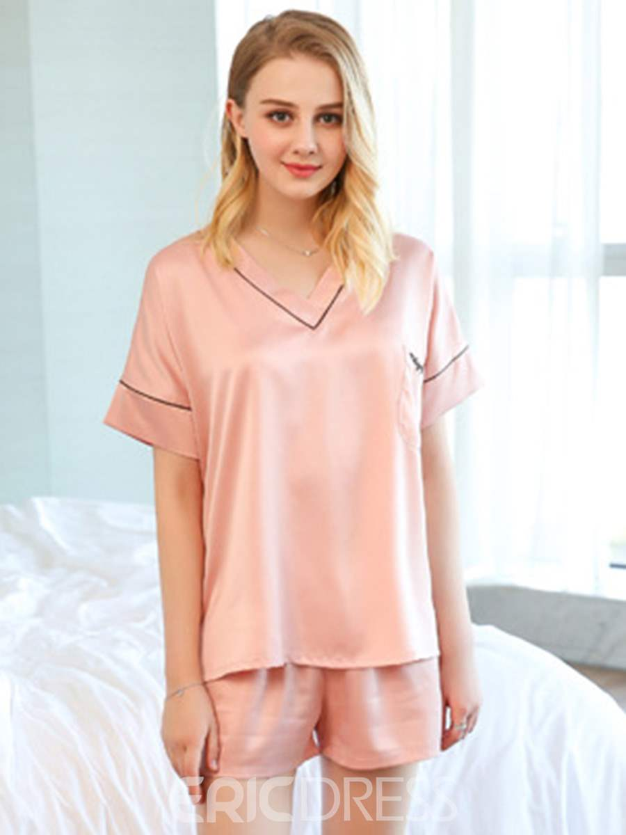 Ericdress Pocket V-Neck Pullover Women's Short Pajama Set