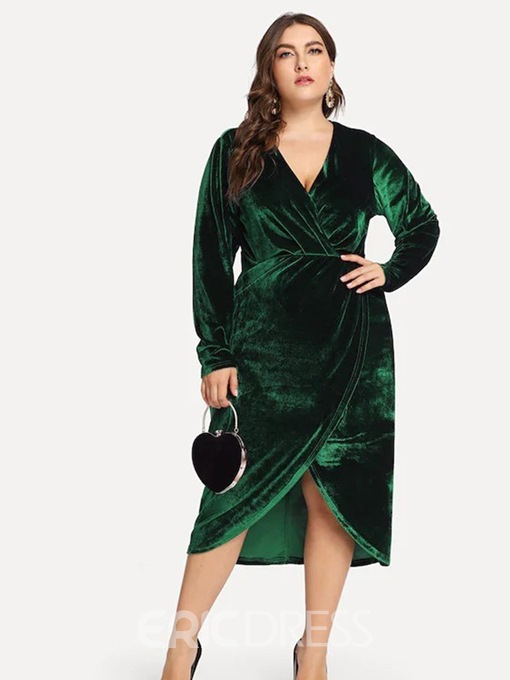 Ericdress Plus Size Asymmetric Mid-Calf V-Neck Plain Pullover Dress