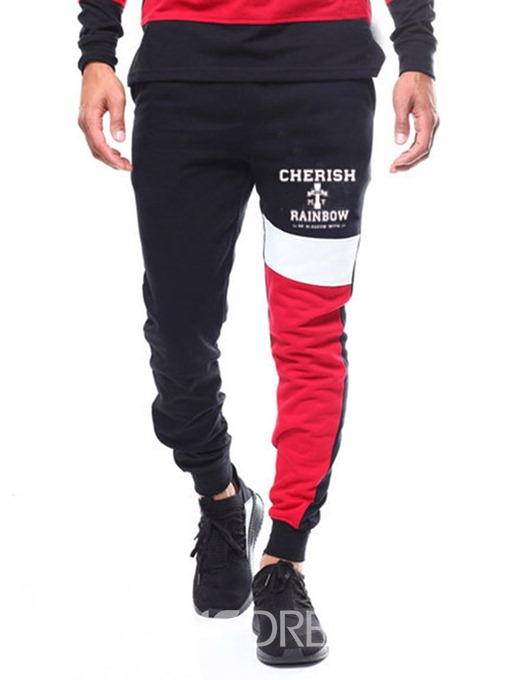 Ericdress Printed Color Block Lace-Up Mens Casual Pants