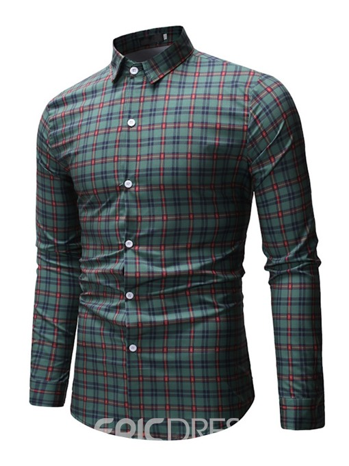 Ericdress Print Plaid Lapel Single-Breasted Mens Casual Shirt