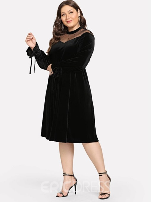 Ericdress Patchwork Long Sleeve Mid-Calf Plain Date Night Plus Size Dress