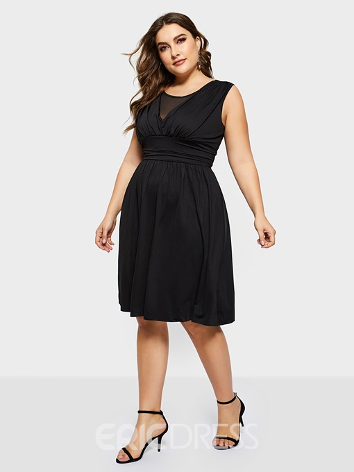 Ericdress Plus Size Pleated Sleeveless Mid-Calf Casual High Waist Dress