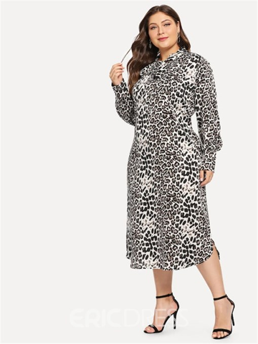 Ericdress Long Sleeve Mid-Calf Leopard Date Night Plus Size Dress