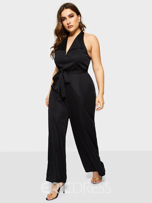Ericdress Sexy Plain Full Length Loose Wide Legs Jumpsuit