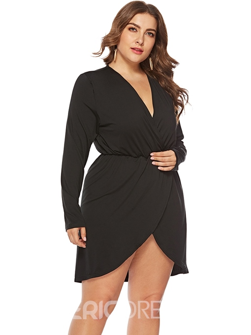 Ericdress Plus Size Above Knee Asymmetric V-Neck Casual Plain Dress