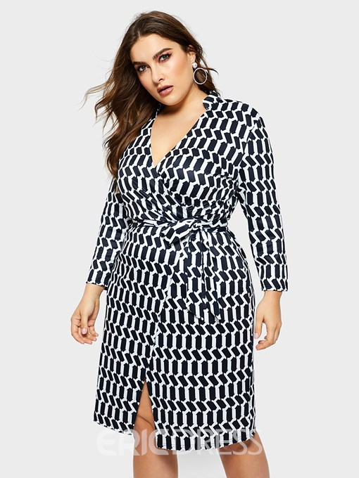 Ericdress Plus Size Knee-Length Print Three-Quarter Sleeve Pullover Plaid Dress