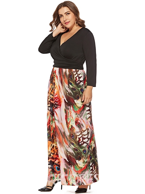 Ericdress Plus Size Patchwork Ankle-Length V-Neck A-Line Color Block Dress