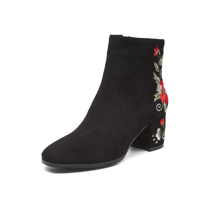 Ericdress Embroidery Chunky Heel Floral Side Zipper Women's Boots