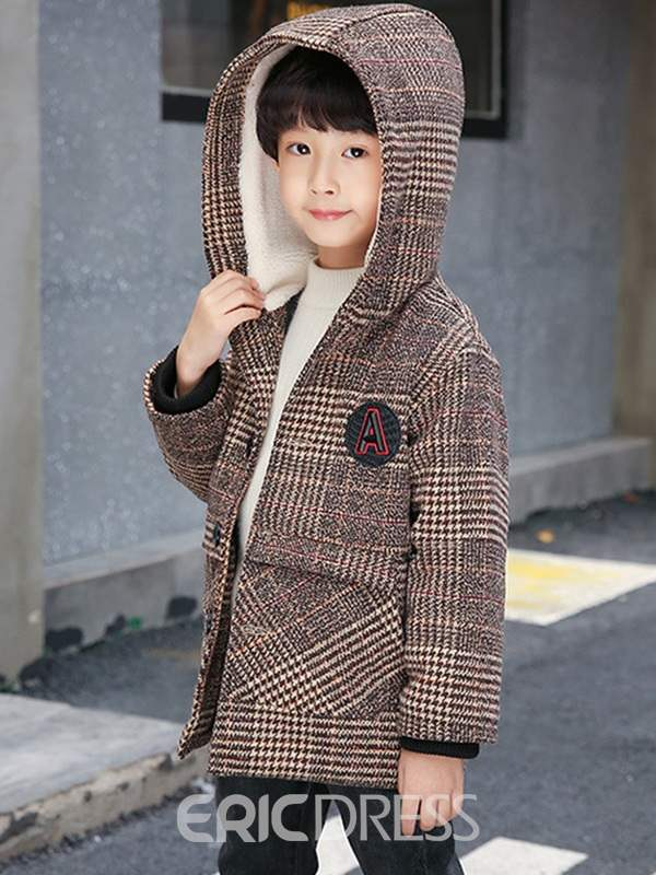 Ericdress Plaid Hooded Mid-Length Coat