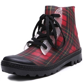 Ericdress PVC Block Heel Lace-Up Front Women's Hunter Boots