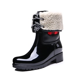 Ericdress PVC Block Heel Round Toe Women's Hunter Boots
