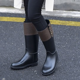 Ericdress Block Heel Color Block Slip-On Women's Hunter Boots