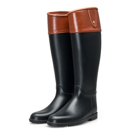 Ericdress Block Heel Slip-On Color Block Women's Hunter Boots