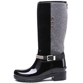 Ericdress Patchwork Block Heel Round Toe Back Zip Women's Hunter Boots