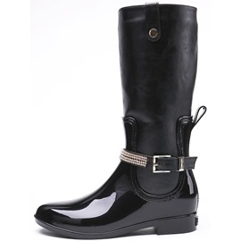 Ericdress PU Block Heel Round Toe Women's Hunter Boots