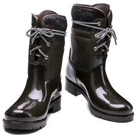 Ericdress Round Toe Lace-Up Front Patchwork Women's Hunter Boots