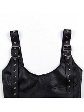 Ericdress Plain Patent Leather Cotton Sleeveless Sexy Vest