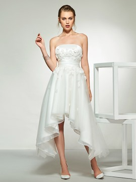 Ericdress Strapless Appliques Asymetry Wedding Dress 2019