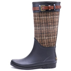 Ericdress Block Heel Slip-On Plaid Women's Hunter Boots