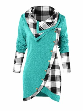 Ericdress Button Regular Plaid Lapel Mid-Length Hoodie