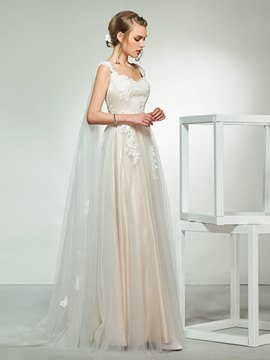 Ericdress Cap Sleeves Applique Wedding Dress 2019