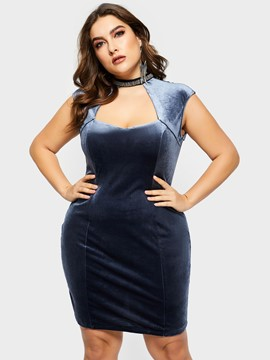 Ericdress Plus Size Sleeveless Above Knee Casual High Waist Dress