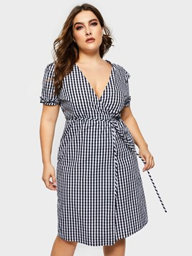 Ericdress Plus Size Lace-Up Short Sleeve Knee-Length Plaid High Waist Dress